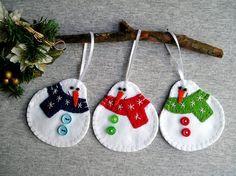 Happy snowmans, tree ornaments, felt snowman, felt christmas ornaments, felt ornament, embroidery handmade, PRICE PER 3 ITEM