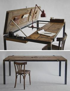 bureau-porte-objets-trouves-convertis-en-meubles-charlotte-a-la-main-idees-upcycling/ - The world's most private search engine Upcycled Furniture, Wooden Furniture, Furniture Making, Antique Furniture, Bedroom Furniture, Home Furniture, Bureau Design, Creation Deco, Deco Design