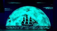 Glowing Art Pirate Ship moon rise Glow in the Dark by TrueAcrylics