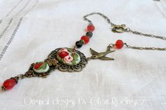 Collares con camafeo - Gargantilla Odette-Bouquet bordado - hecho a mano por gloria-60 en DaWanda