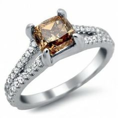 Fancy Brown Cushion Cut Diamond Ring