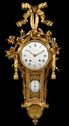 A Very Rare & Beautiful Louis XVI Gilt Bronze Cartel Clock w/Barometer