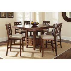Steve Silver Bolton 7 Piece Counter Height Storage Dining Table Set - Dark Oak - SSC1573