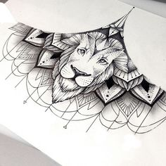 linework lion mandala Sternum Tattoo I like the idea of having a tiger instead of a lion and I would change the look a bit more but I like this Wolf Tattoos, Animal Tattoos, Body Art Tattoos, Tatoos, Leo Lion Tattoos, Tattoo Ink, Piercing Tattoo, Piercings, Design Tattoo