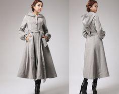 Gray wool coat  womens swing coat  long coat for by xiaolizi
