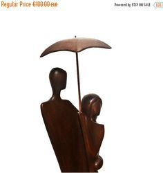 ON SALE Wood sculpture Under Umbrella wood by Woodinthemood
