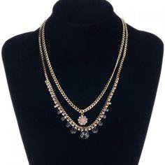 Rhinestone Double Layered Necklace