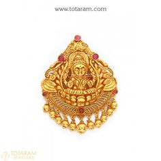 22K Gold 'Lakshmi' Pendant (Temple Jewellery) - 235-GP3194 - Buy this Latest Indian Gold Jewelry Design in 9.550 Grams for a low price of $645.99
