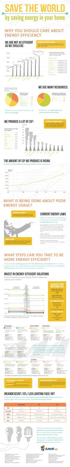 Energy Efficiency Infographic — Save Money, Save the World - Press Ctrl + to zoom in, Ctrl - To Go back