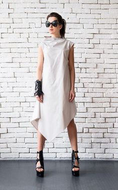 Off White Asymmetric Loose Summer Dress/Sleeveless Maxi Dress/Summer Casual Dress/Oversize Tunic Dress/Long Maxi Top/Plus Size Tunic Top