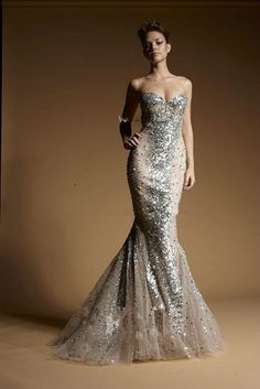 Silver Sequins In Nude Evening Gown From Zuhair Murad With Multi-layered Fishtail Train $520.00