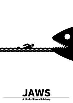 """Pictogram Movie Poster """"Jaws"""". Tribute to Viktor Hertz."""