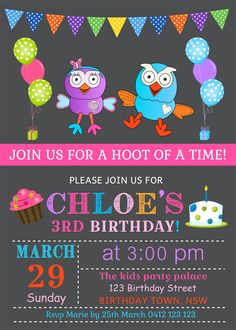 Personalised kids giggle and hoot birthday party invitations invites invitation
