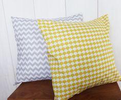 Commande Chantal 2 x Housses de coussin 40x40 cm GRIS + jaune esprit design scandinave