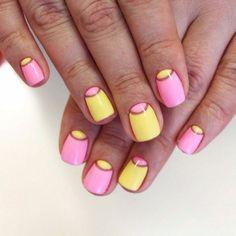 Pink and Yellow Moon Nails