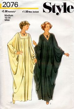1970s Caftan Pattern Style 2076 Vintage Sewing by BessieAndMaive