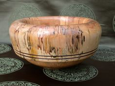 thick turned birch spalted wood bowl roll over rim