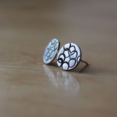 Round with stamped circles sterling silver handmade earring studs £12.00
