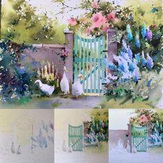 "Step by step ""Hidden garden"" Acuarela sobre papel 28x38cm #workinprogress #watercolor #acuarela #aquarelle #art #artwork #artgallery #artoftheday #blancaalvarezwatercolors #painting #saunderswaterford #landscape #flowers #garden #patos"