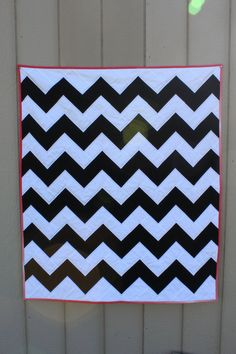 Black and White Chevron quilt, accented by pink ellascottage,