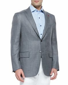 Cashmere-Silk Two-Button Blazer, Gray by Isaia at Neiman Marcus.