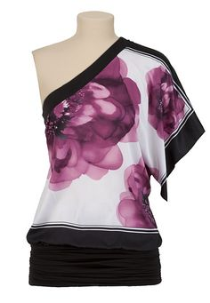 Large Flower Print One Shoulder Top