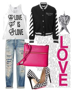"""love is love"" by nenglita ❤ liked on Polyvore featuring R13, gx by Gwen Stefani, Kate Spade, Off-White and AeraVida"
