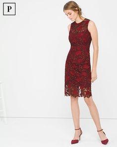 White House   Black Market Petite Tonal-Lace Sheath Dress