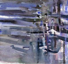 GRISAZUR: Acuarela sobre papel, 16,5x17,5 cm.Ene. 7, 2015
