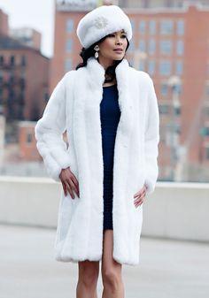 White Mink Signature Knee-Length Faux Fur Coat | Fabulous-Furs