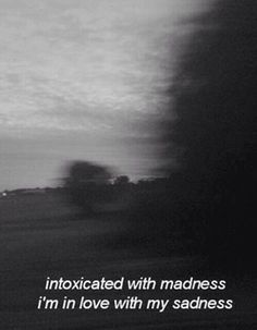 Inspirational Quotes About Strength :intoxicated with madness . I'm in love with my sadness-this couldn't h. The Words, Mood Quotes, Life Quotes, Bipolar Quotes, Grunge Quotes, Dark Quotes, Tumblr Quotes Deep, Quote Aesthetic, Lyric Quotes