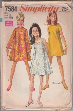 $9.99 vintage 60s sewing pattern Simplicity 7584 mod gogo tent dress