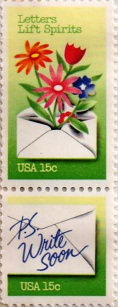 US postage stamp, 15 cent.  Letters Lift Spirits, P.S. Write Soon.  Issued 1980.  Scott catalog 1807, 1808.