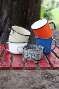 Vintage Enamelware Camp Mugs, Set of 5