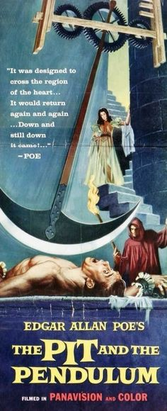 "Best Film Posters : – Picture : – Description ""The Pit and the Pendulum"" ~ Starring Vincent Price as Nicholas Medina in this Edgar Allan Poe adaptation -Read More – Old Movie Posters, Classic Movie Posters, Classic Horror Movies, Horror Movie Posters, Cinema Posters, Movie Poster Art, Scary Movies, Old Movies, Vintage Movies"