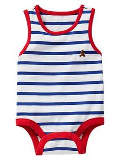 Contrast Trim Striped Bodysuit - Imperial Blue - Gap