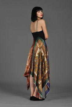 70s Asymmetrical Scarf Skirt Disco Dress | BUSTOWN MODERN