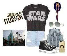 """Disney outfit #4- HOLLYWOOD STUDIOS!!!!!!!!"" by cristinamartinez2000 ❤ liked on Polyvore featuring Topshop, Converse, Ray-Ban and Disney"