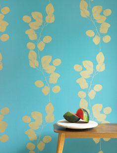 Turquoise/Gold Leaf wallpaper by Jocelyn Warner