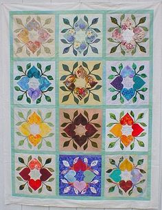 From the Heart Circle Quilter's Retreat 2004 by Scarlett Rose, Laurie Short and Jean Keyes, here's a finished quilt top by Babs Robinson in 2005. A later picture shows the completed quilt with a pieced border.