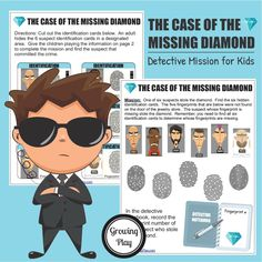 Detective Fingerprint Mission – The Case of the Missing Diamond – Growing Play Are you looking for an activity to. Mystery Games For Kids, Spy Kids, Free Games For Kids, Puzzles For Kids, Secret Agent Activities For Kids, Printable Games For Kids, Free Printable, Escape Room For Kids, Experiment
