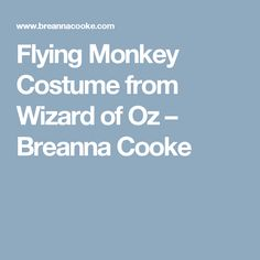 Flying Monkey Costume from Wizard of Oz – Breanna Cooke