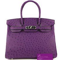 Model : 30cm Birkin, Price : Please email us at luxuryvintagekl@gmail.com, Material : Ostrich, Hardware : Palladium, Color : Violine, Condition : Brand New Condition.
