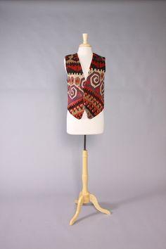 Vintage 70s VEST / 1970s Turkish KILIM & Blue Denim Unisex Waistcoat #vintage #mens #menswear #kilim #turkish #hippie #boho #vest #70s