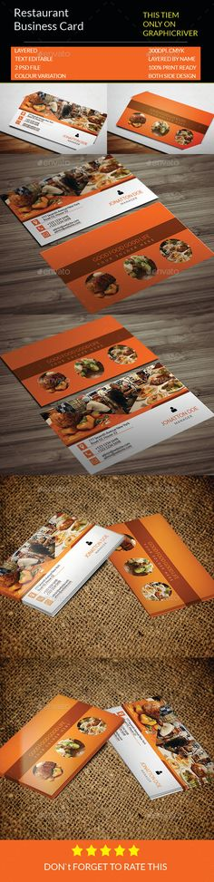 Restaurant Business Card Template.133 — Photoshop PSD #design #easy to use • Available here → https://graphicriver.net/item/restaurant-business-card-template133/13479137?ref=pxcr