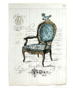Blue damask baroque chair