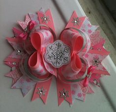 7 inch Jumbo Pink snowflake boutique bow