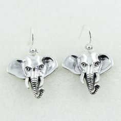 ELEPHANT SHAPED ANTIQUE DESIGN 925 STERLING SILVER EARRINGS _ SILVEX IMAGES #SilvexImagesIndiaPvtLtd #DropDangle