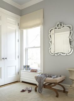 Wall Color is Stonington Gray Benjamin Moore. Stonington Gray from Benjamin Moore is on the cooler side but has been a popular color for several years now. Benjamin Moore Stonington Gray, Sea Haze Benjamin Moore, Benjamin Moore Abalone, Silver Chain Benjamin Moore, Benjamin Moore Tranquility, Grey Wall Mirrors, Mirror Mirror, Blue Grey Walls, Bluish Gray