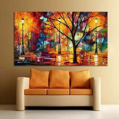 Colorful Impression In Night Park Abstract Palette Knife Oil Painting Canvas Wall Art Cafe,Bar or Hotel Decoration Frames For Canvas Paintings, Big Canvas Art, Canvas Wall Art, Painting Canvas, Home Confort, Modern Color Palette, Buddha Painting, City Art, Art Oil